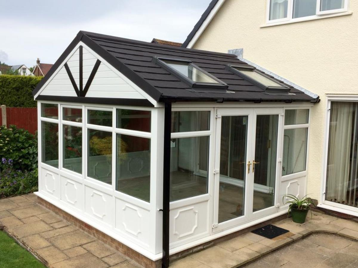 Gable fronted conversion of a Cleveleys conservatory featuring Velux rooflights.