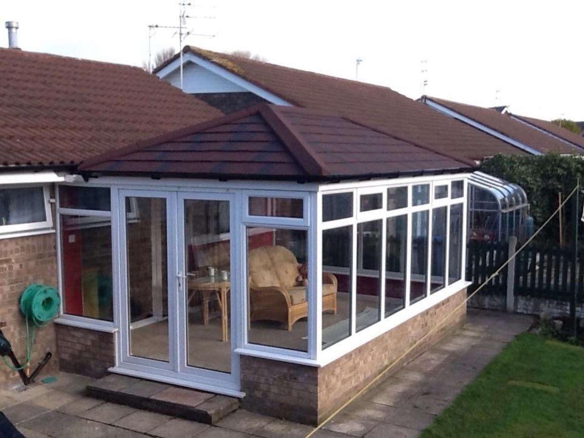 Double ended hipped roof for bungalow conservatory in Carleton, near Blackpool.